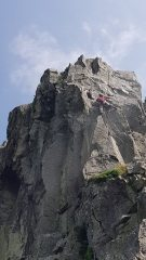 Unknown climber on crux of Lavaredo, Carreg Alltrem