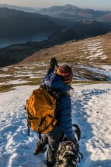 Decending from the wintery summit of Helvellyn late in the day.    Am amazing day walking in the Lake District., 152 kb