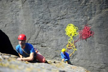 Photoshoot for guidebook - Ed Shaw climbing Deep Blue