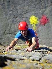 Photoshoot for guidebook- Ed Shaw climbing Deep Blue