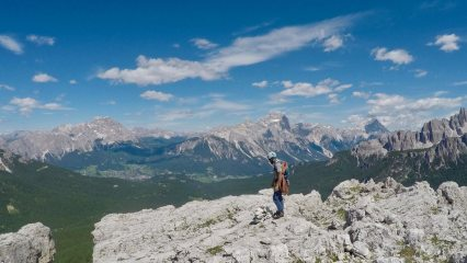 Lucky topping out of Via Myriam, Cinque Torri, Dolomites