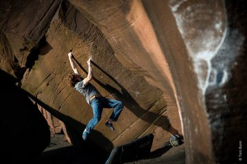 Alex Moore on Floating Point [7C] at St Bees, Lake District.