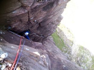 Sucked into Central Corner, Central Buttress VS Route, Coire Mhic Fhearchair, Bein Eighe