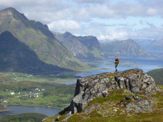 Lofoten Magic: enjoying the view on the way up Slettheia