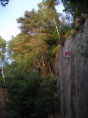 Clare nearing the top of Zapple on a perfect summer evening, 158 kb