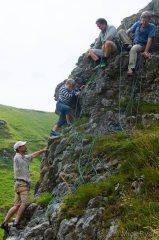 Andrew Walker, Eli Pritchard, Johnny Dawes and Crispin Waddy on Matterhorn Ridge, Winnats Pass, Peak District.