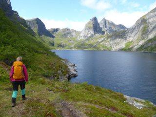 Walking in along Djupfjorden, Lofoten