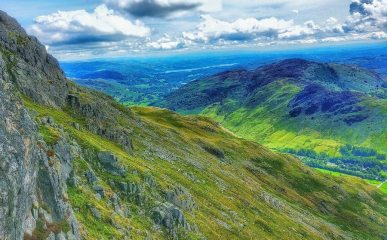 View looking down the langdale valley from second pitch of Gimmer chimney