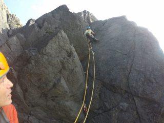 Dave moving into the large crack on Spirit Shadow, Predannack Head