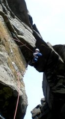 Storming the Bridge, E5 6a, False Stack Area, Yesnaby. First ascent.