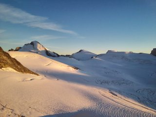 Evening light on the Dent D'Herens and Tete Blanche.