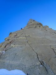 Looking up the Burgener Slabs on Dent du Geant, with the fixed ropes guiding you to the summit. , 102 kb