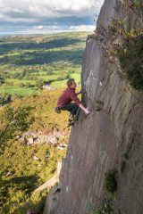 Highballing or Soloing? Dave on the precarious upper section of Existentialist Arete at Bosley Cloud