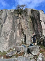 Hollow flake, Bell Stamd, Cumbria. Ale contemplates warm rock in October. Good rock very quiet Crag wonderful view.