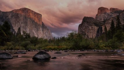 El Capitan and the Merced at sunset