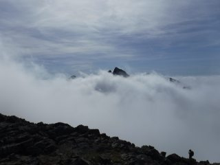 Cloud inversion looking over to Sgurr Alisdair and the great stone chute