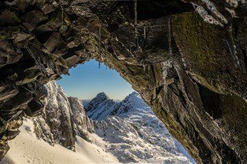 Sgurr Sgumain Bivi Cave and view of Cuillin Ridge