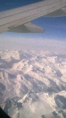 flying over the alps in route to Turin