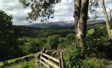 Aran, Snowdon and Lliwedd seen from road to Cwm Croesor