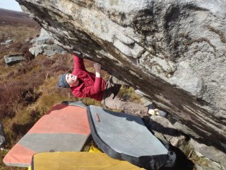 Ben Clarke on Lupa (6B).  The day of the first recorded ascents on this bloc.