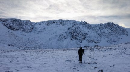 Walking in to Coire an t'Sneachda in beautiful conditions.