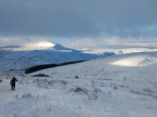 View of Fan Fawr from a snowy Pen y Fan