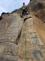 Recently reboulted route at El Poris gorge
