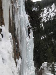Austrian Ice. The steep section of Ghostbusters, the route Sir Max can be seen in the background., 122 kb