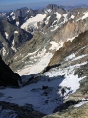 Mont Pelvoux - dropping back into the Coolidge Couloir