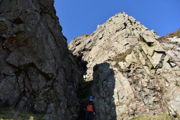 Looking up at Glyndwr's Ladder on Moel Hebog's rarely climbed summit cliffs.