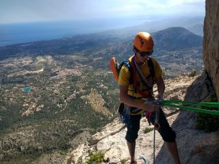 Smiles for miles on Espolon central Puig Campana, pitch 8.
