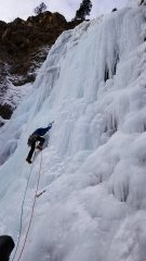 Leading up the first pitch of Honeyman Falls