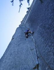 a proper rock climb: the Split Pillar, pitch 6 on the 10 pitch Grand Wall, Squamish, Canada