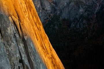Last rays of sun on West Side of El Cap (possibly mid pitches of Freerider/Salathe???), CA.