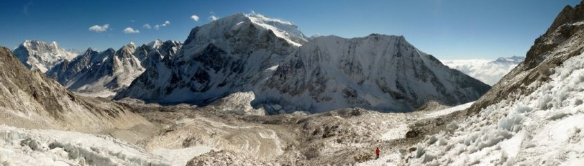 Panorama from our high camp on Pawar Cho Himal looking south to Larkya Peak and Sano Larkya in the  Manaslu region of Nepal