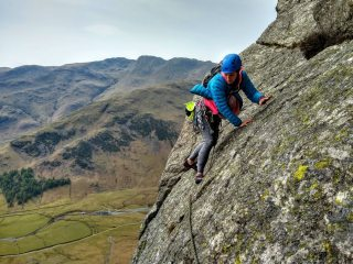 Enjoying the view (and sunshine) from Bracket and Slab, Langdale