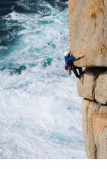 Rockhopper finish to Samson Arete. Sennen. Unknown climber.