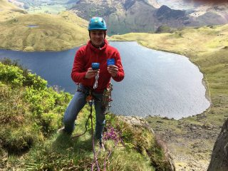 Matt Joynson ledge at top of 2nd pitch of Rake End Wall.  Pleased having found this 'Nut of Legends'