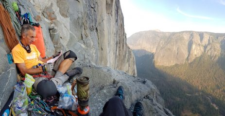 In The Cyclops Eye, North America Wall, about 2,000ft and 4 days up El Cap