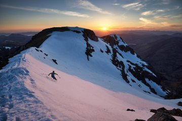 Skiing off the north side of Bidean nam Bian at sunset, 232 kb