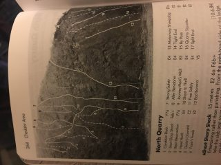 A crap photo of the 2004 Avon and Cheddar guidebook page for Notth Quarry.