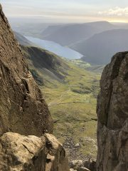Wastwater from about two thirds of the way up soloing Grooved Arete