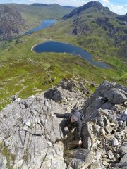 Scrambling up the East Ridge of Y Garn in glorious weather