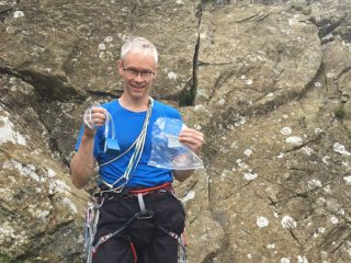 Nick with his found prize nut at Gouther Crag!