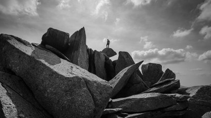 Self portrait on the summit of Glyder Fach.