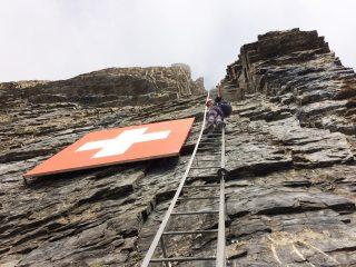 Swiss Flag on the Daubenhorn via ferrata