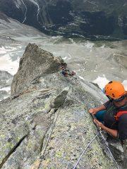 Belaying high on the west ridge of Dent de Tsalion