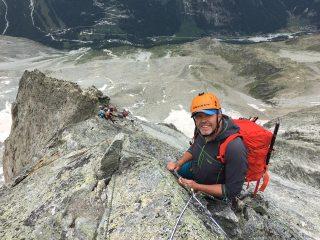 Belaying high on the west ridge