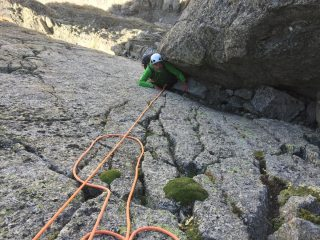 The 5a pitch near the top.  Well protected with a thread round a chockstone