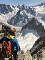 Looking towards the Grandes Jorasses and the Dent Du Geant from the Moine Ridge